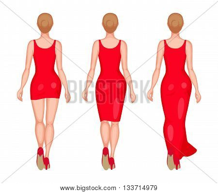 Slender women dressed in red slinky dresses. Mini, midi and maxi. Back view. Beauty and fashion concept
