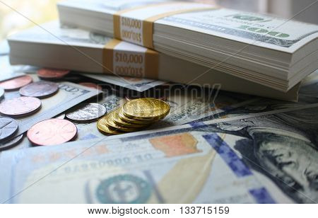Money With Gold Coins Stock Photo High Quality