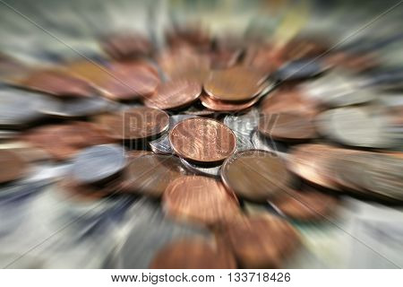 Pennies Zoom Burst Stock Photo High Quality