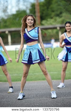 HUAHIN THAILAND-AUG92015: Dancers cheer of huahin city fc during half time of the match at tanarat stadium