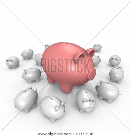A wealthy pink piggy bank - a 3d image