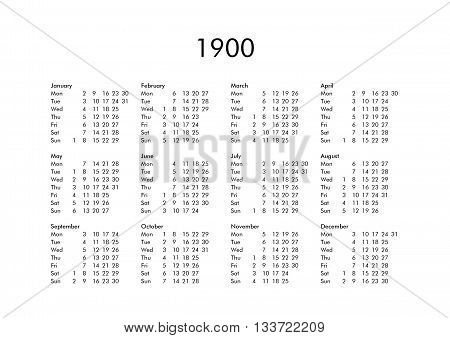 Calendar Of Year 1900