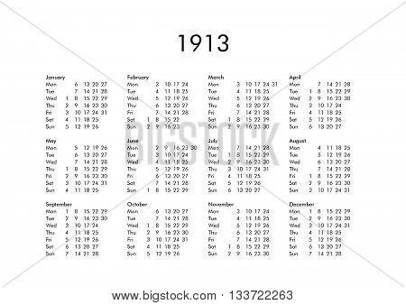 Calendar Of Year 1913