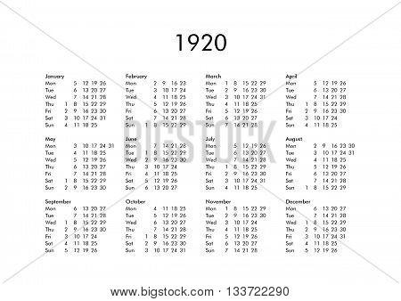 Calendar Of Year 1920
