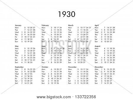 Vintage calendar of year 1930 with all months poster
