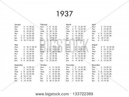 Calendar Of Year 1937