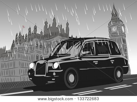 Black taxi cab moving on Westminster Bridge in the rain. Monochrome illustration