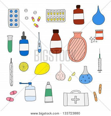 Hand drawn medical items isolated on white background. Pills hot water bottle lemon plaster first aid box thermometer garlic inhalator syringe ointment drops test tube.