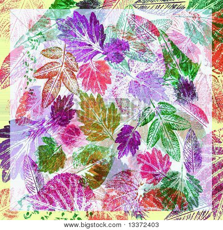 Abstract background, watercolor: leaves, painted on a paper poster
