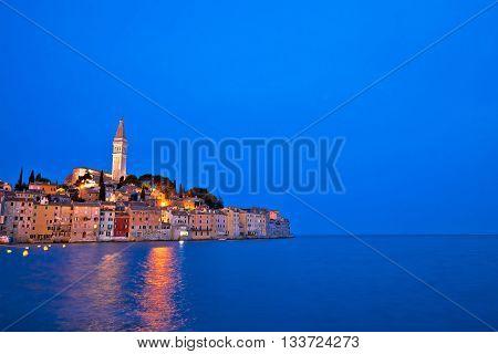 Town of Rovinj evening view with copyspace Istria Croatia