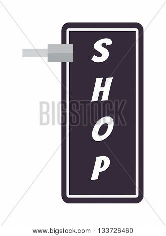 Blank, white round shop sign hanging wall. Business shop sign frame sign board commercial design isolated message vector blank. Retail information vintage object cafe shop sign street billboard.