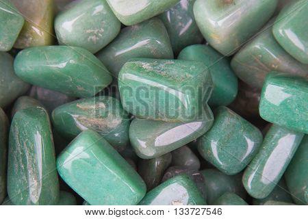 Chrysoprase gemstone. Jadeite mineral, green valuable stone