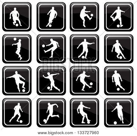 set of 16 soccer icons