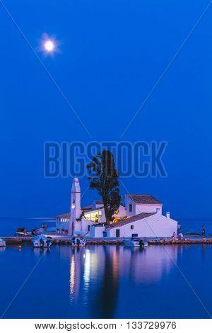 Night Full Moon Scene Of Vlacherna Monastery And Pontikonisi Island Near Kanoni, Corfu