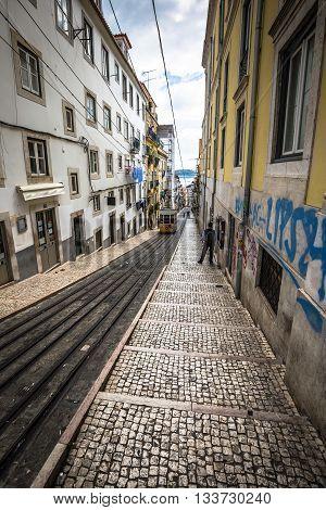 Bica elevator tram in Lisbon Portugal Europe