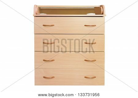 Wooden chest of drawers isolated on white. Dresser.