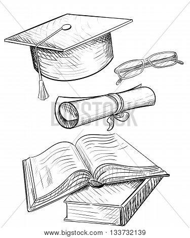 Congratulations on graduation graduate cap and glasses.