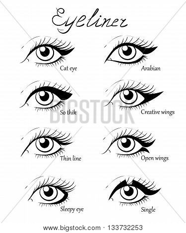 Types of eye makeup. Cat Eyeliner Tutorial. Hand drawn illustration of eyebrow line make up sketches isolated. Stylish make up. Vogue beauty article magazine book.