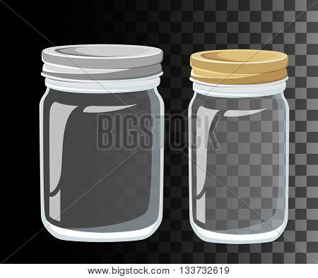 Glass Jars for canning and preserving. Vector Mason Canning Jars. glass jars set isolated.