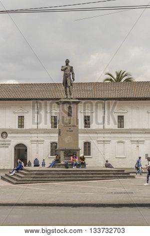 QUITO, ECUADOR, OCTOBER - 2015 - Marshal Sucre monument statue located at Santo Domingo squre at the historic center of Quito in Ecuador.