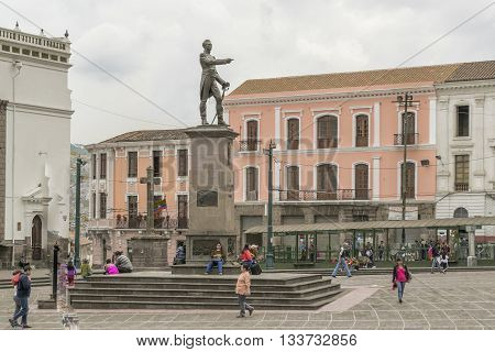 QUITO, ECUADOR, OCTOBER - 2015 - Marshal Sucre monument statue located at Santo Domingo squre at the historic center of Quito in Ecuador.