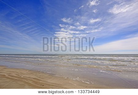 Cloud Patterns over an Ocean Beach on Padre Island National Seashore in Texas