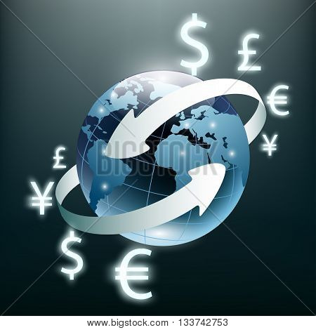 Money transfer and Global Currency. Stock Exchange. Stock vector illustration.