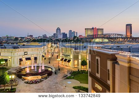 SHREVEPORT, LOUISIANA - MAY 23, 2016: The Louisiana Boardwalk and downtown skyline.