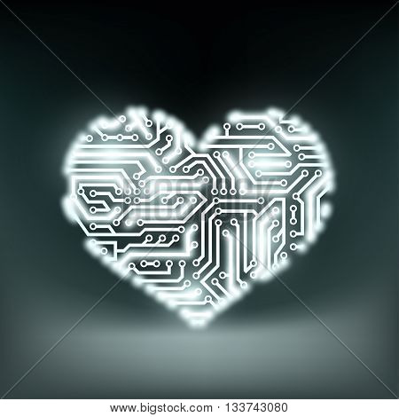 Human heart in the form of technology circuits. Stock Vector illustration.