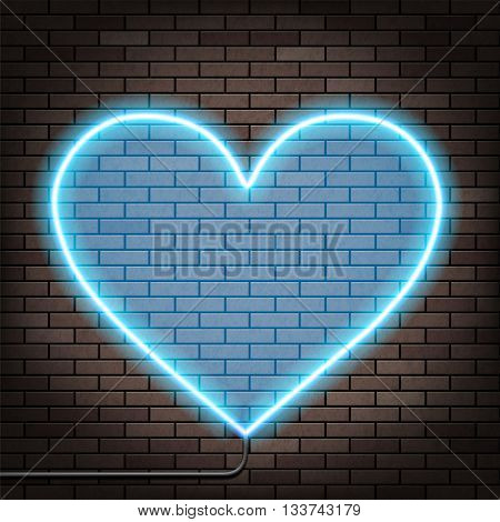 Human heart of glowing neon lights. Brick wall. Stock Vector illustration.