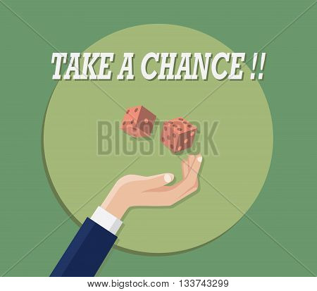 take a chance with hand play dice green background flat vector graphic illustration