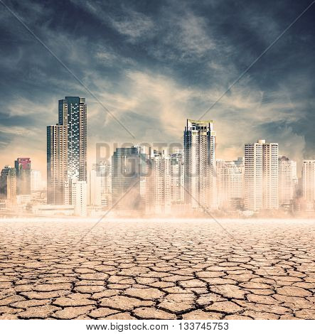 "city lack of waterexpression on ""EL nino"" climate effect poster"