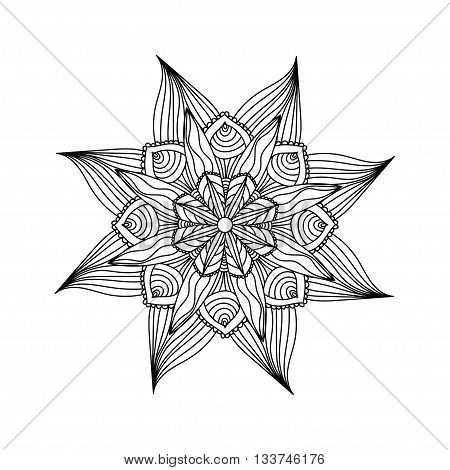 Adult coloring page. Mandala vector Round zentangle for coloring book pages, mandala design. Coloring mandala. round ornament lace pattern