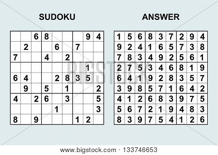 Vector sudoku with answer. Puzzle game with numbers.