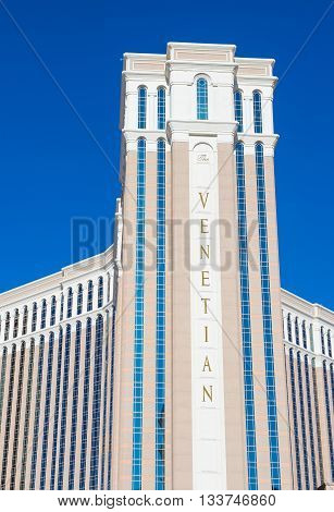 LAS VEGAS - MAY 21 : The Venetian hotel in Las Vegas on May 21 2016. With more than 4000 suites it`s one of the most famous hotels in the world