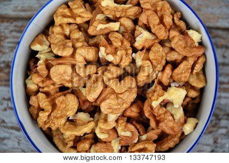 Walnuts Kernel On Blue Vintage Table Village Fall Harvest 1