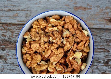 Walnuts Kernel On Blue Vintage Table Village Fall Harvest 2