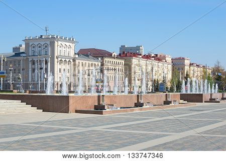 KAZAN, RUSSIA - MAY 02, 2016: The Avenue of fountains at Tatarstan street in Kazan. Tourist landmark of the Kazan