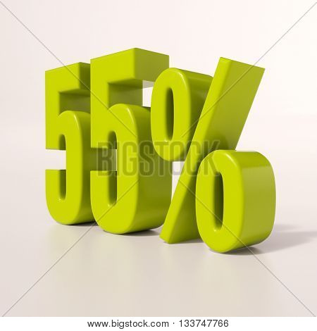 3d render: green 55 percent, percentage discount sign on white, 55%