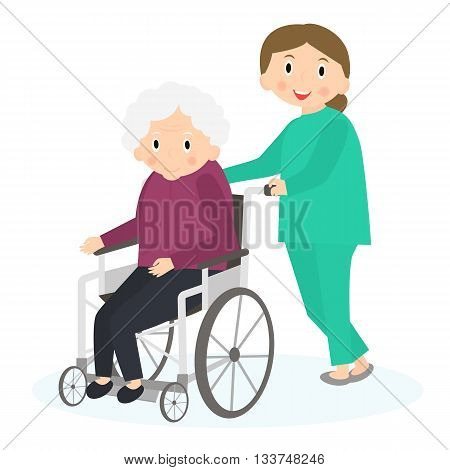 Disabled old woman. Handicapped senior woman in a wheelchair. Special needs woman. Caring for seniors helping moving around. Elderly care. Vector illustration.