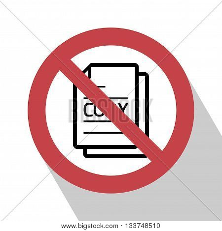 No copy file sign red prohibition