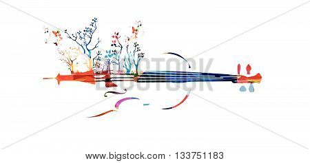 Colorful music background with violin and butterflies