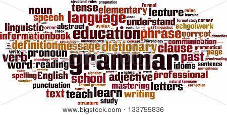 Grammar word cloud concept. Vector illustration on white