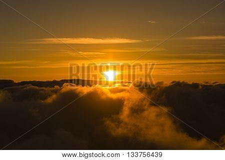 Sunset Above Clouds Haleakala National Park Maui Hawaii USA