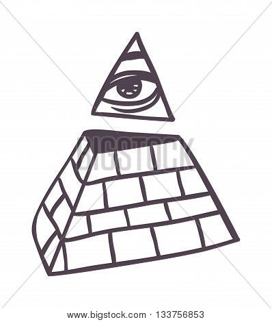 Egypt pyramid vector illustration Pyramid all seeing eye isolated on white background silhouette. All seeing eye in delta triangle. Pyramid and freemasonry icon, new world order emblem.