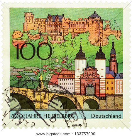 MOSCOW RUSSIA - JUNE 02 2016: A stamp printed in Germany shows ancient German city Heidelberg devoted to the 800th Anniversary of Heidelberg circa 1996