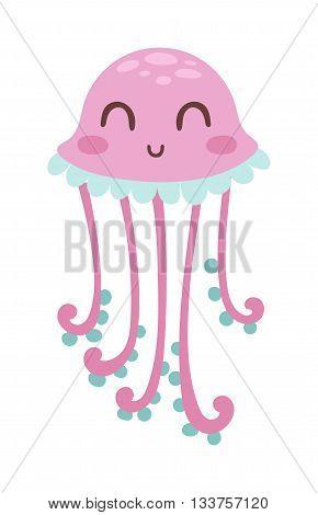 Cute happy jellyfish cartoon character sea animal vector illustration. Invertebrate animal sea fauna jellyfish medusa vector illustration. Nature animal aquatic medusa, aquarium tropical marine.