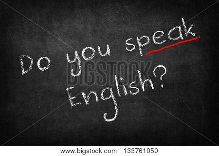 Do you speak English? words on Blackboard