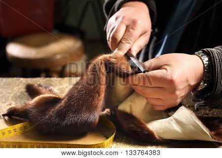 Furrier cut leather, sewing scum. Cutting mink fur.