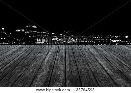 wood floor with city in black and white background